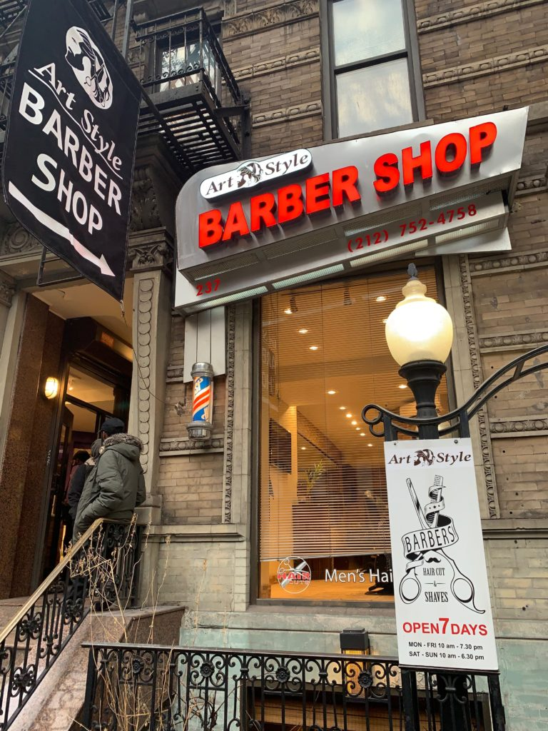 Custom Barbershop LED Channel Letter Sign with Flag on pole sign in Manhattan